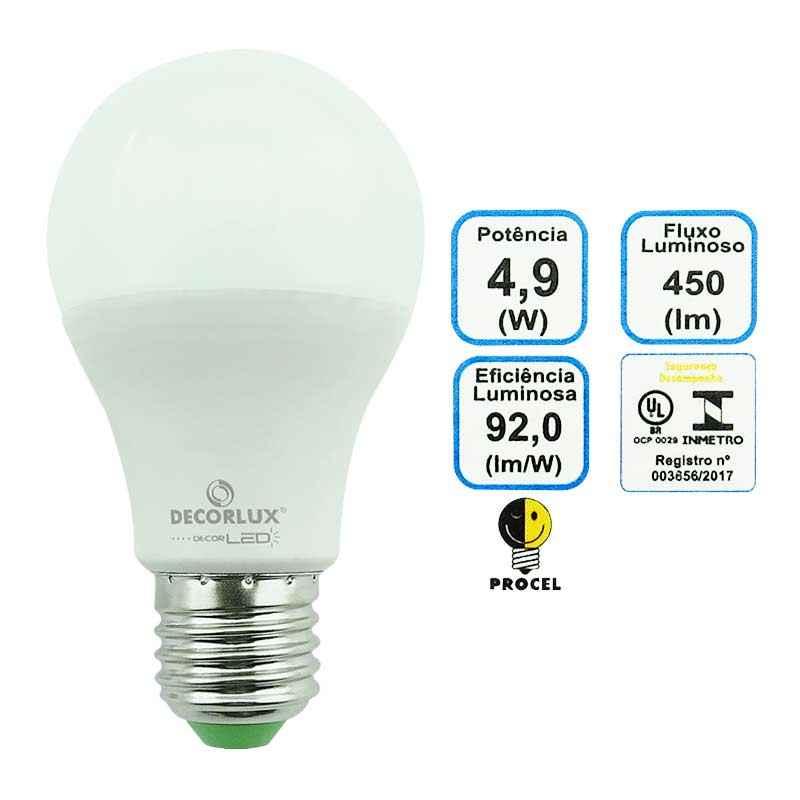 Lâmpada Super LED Bulbo 4,9 W Branca Decorlux