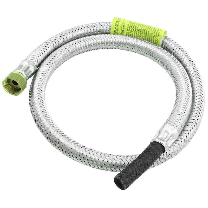 Ligação flexível gás malha de aço 1/2 x 3/8 x 1 m