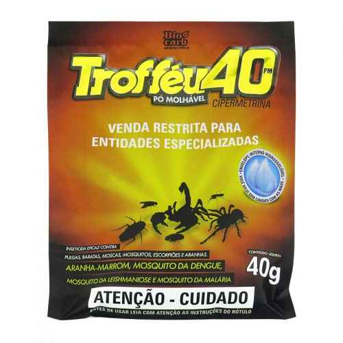 Pesticida Trofféu 40 pó molhável Cipermetrina 40g