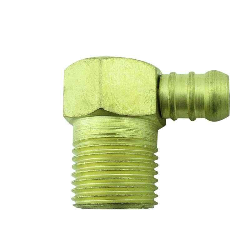 Adaptador p/ gás 90° rosca macho 1/2 x espigão 3/8