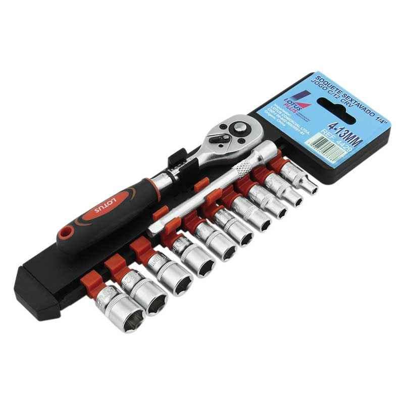 "Kit chave soquete sextavado 1/4"" c/12 pçs CR-V"