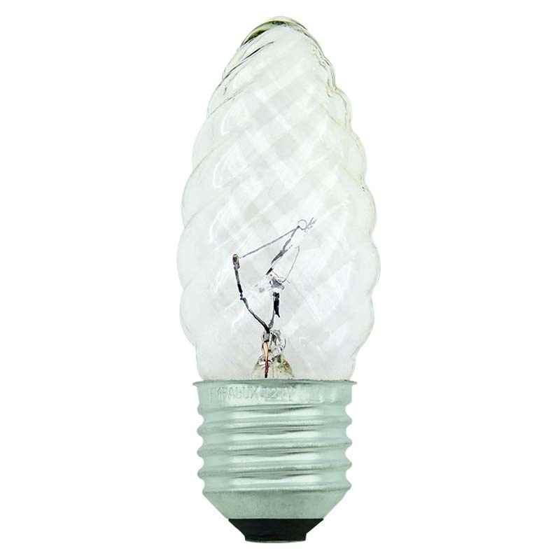 Lâmpada Vela Torcida Transparente incan. 25W-E27