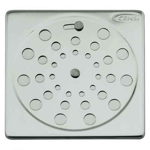 Grelha/Ralo quadrado de aço inox c/ fecho 100mm