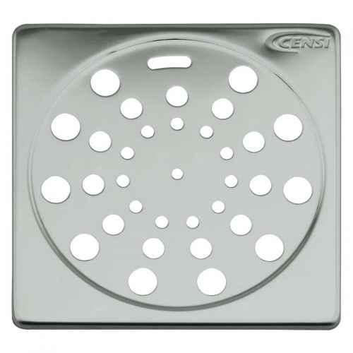 Grelha/Ralo quadrado de aço inox s/ fecho 100mm
